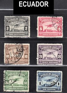 Ecuador Scott C8-C13 F to VF used.