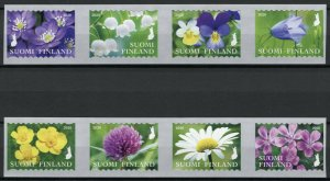 Finland Wild Flowers Stamps 2020 MNH Snowdrops Daisies Flora 2x 4v S/A Strip