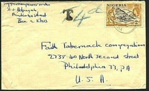 NIGERIA 1961 TAXED cover EBU to USA........................................93419