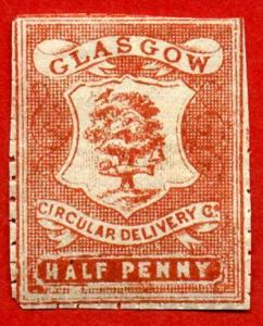 Circular Delivery SGCD21a Glasgow 1/2d dull scarlet mint (pin perf 10 1/2)