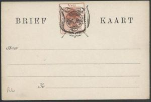 ORANGE FREE STATE ½d on postcard opted Arms, unused........................57027