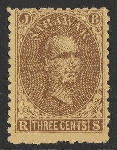 SARAWAK 1869 Brooke 3c brown with gum.