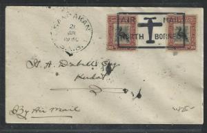 NORTH BORNEO COVER (P0804B) 16C BIRD X2 BOX AM NB 1930 SANDAKAN TO KUDAT