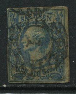 Saxony 1856 10 neu groschen milky blue used