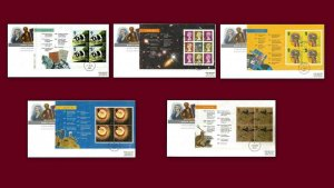 1999 World Changers Prestige Booklet Panes Complete Set Of 5 On First Day Covers