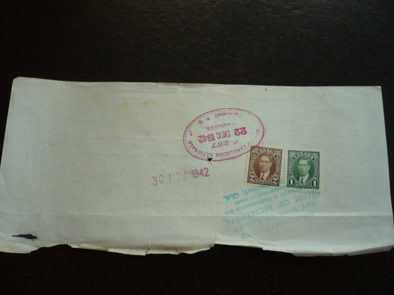 Canada - Revenue - KGVI Mufti Issue Stamps on Time Draft dated 1942