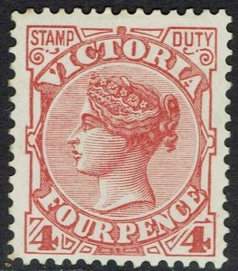 VICTORIA 1886 QV STAMP DUTY 4D WMK V/CROWN SG W33