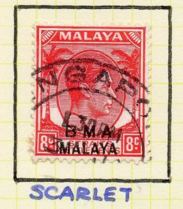Malaya Straights Settlements 1945 Early Shade of Used 8c. BMA Optd 307991