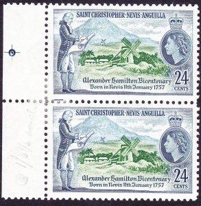 ST CHRISTOPHER NEVIS & ANGUILLA 1957 QEII 24cGutter Pair Green & Deep Blue ...