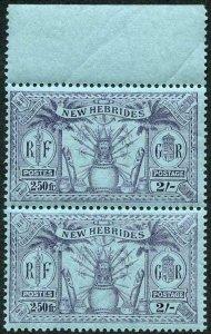 New Hebrides SG50 2/- (2.50FR) U/M Pair (slightly brown gum)