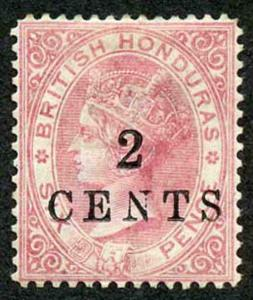 British Honduras SG25 2c on 6d rose wmk CC perf 14 M/M (a bit grubby on reverse)
