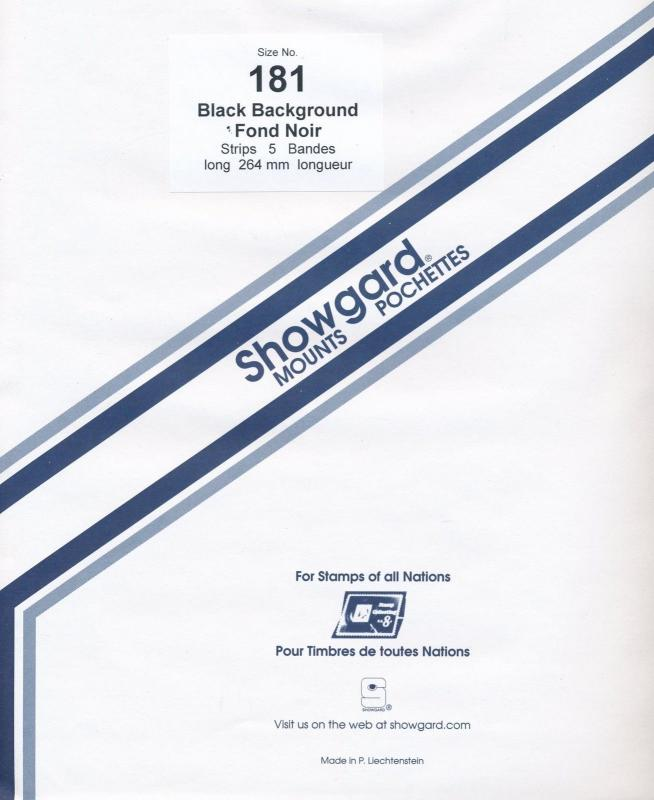 Showgard Stamp Mount 181/264 BLACK Background Pack of 5