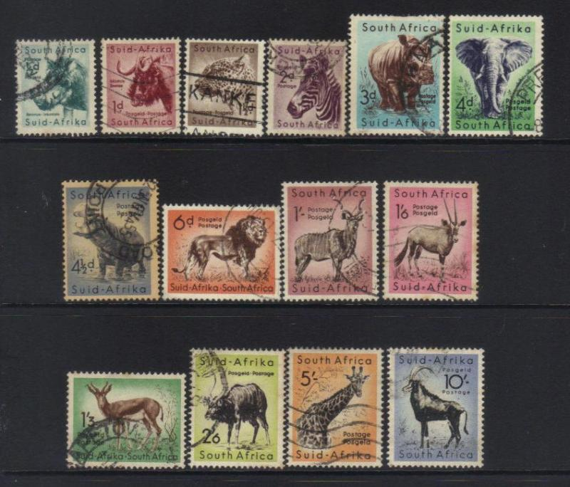 SOUTH AFRICA 1954 WILD ANIMALS 14 USED VALUES CAT £8+