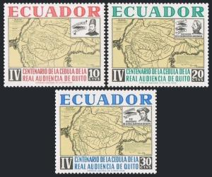 Ecuador 722-724,MNH.Michel 1155-1157. Royal High Court in Quito,400,1964.Map.