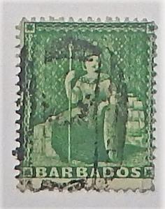 Barbados 13. 1861 (1/2p) Dark blue green, used