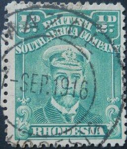 Rhodesia Admiral HalfPenny with MAZOE (DC) postmark