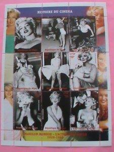 NIGER STAMP-1999- MARILYN MONROE  HISTORY OF CINEMA -  -MNH STAMP SHEET -RARE