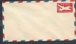 US Scott's # UC18a 6 Cent- Plane - Envelope - Airmail - Unused - Flap Sealed