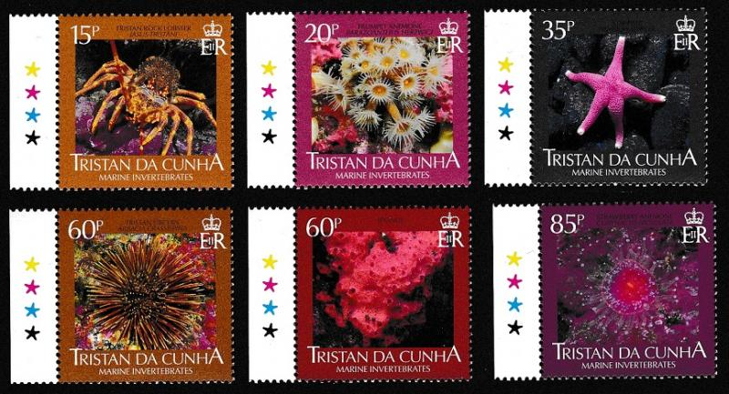 Tristan da Cunha Marine Invertebrates 6v with margins and imprinted stars