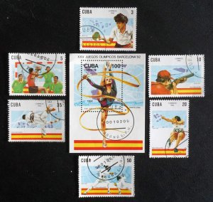 CUBA Sc# 3382-3387 BARCELONA SUMMER OLYMPICS Cpl set of 6 + SS 1992 used cto