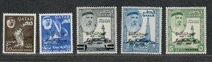 Qatar Sc#42-46 M/NH/VF, Cv. $59.25