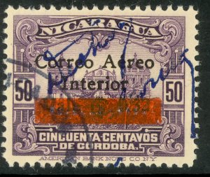 NICARAGUA 1936 32c on 50c Leon Cathedral Surcharge Issue RESELLO Ovpt Sc C131 FU