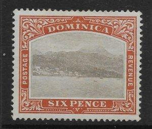 DOMINICA SG32 1903 6d GREY & CHESTNUT MTD MINT