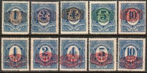 MEXICO 593-602 BARRIL SURCHARGE ON COMPLEMENTARIO SET OF 10. UNUSED, HR OG. F.