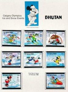 DISNEY BHUTAN 631-638 MINT NH CALGARY OLYMPICS 1988