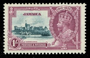 [sto640] JAMAICA 1935 Silver Jubilee SG117a. 1/ Extra flagstaff variety MNH