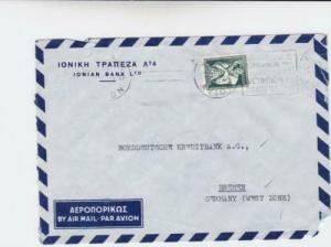 Greece 1954 ionian bank  to bremen germany airmail stamps cover   r19737