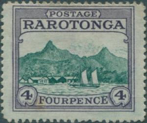 Cook Islands 1924 SG84 4d green and violet Harbour tone spot MLH