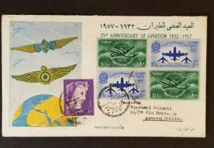 1957 Egypt Genoa Italy 25th Anniversary Aviation Multi Franking First Day Cover