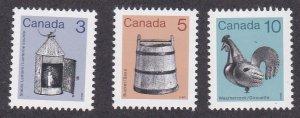 Canada # 919-921, Lantern, Bucket & Weather Vane. NH, 1/2 Cat.