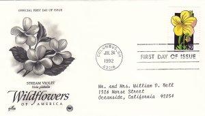 1992, Wildflowers-Stream Violet, Art Craft/PCS, FDC (E11222)