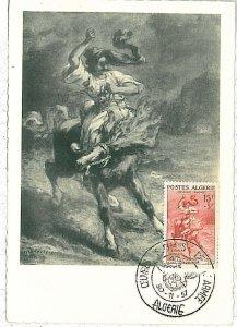 38754  - Algeria - POSTAL HISTORY -  MAXIMUM CARD   1957 - ART Painting HORSE