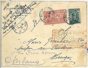 ITALIA REGNO - STORIA POSTALE  - BUSTA ESPRESSO per la CITTA' : MILANO - 1909