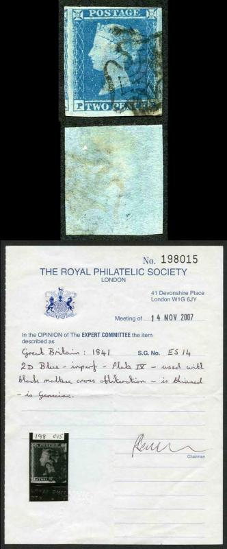 1841 2d Blue (PB) Plate 4 Maltese Cross Cancel VERY RARE on this plate RPS Cert