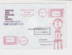 Italy 1977 Monte Dei Paschi Bank Registered Machine Cancel Stamps Cover Ref24619