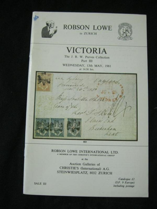 CHRISTIES ROBSON LOWE AUCTION CATALOGUE 1981 VICTORIA 'PURVES' COLLECTION PART 3