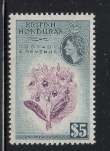 British Honduras Sc 155 1953 $5 Orchid & QE II stamp mint NH