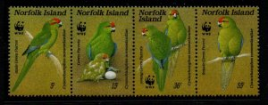 Norfolk Island Sc 421 1987 Parrot WWF stamp strip mint NH