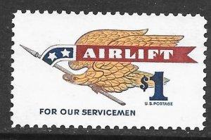 USA 1341: $1 Eagle Holding Pennant, MNH, VF