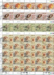 NIUE 1998 SHELLS set in panes of 25 fine used.   Face $172.50..............46368