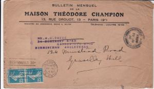 Theodore Champion 1926 Paris Monthly Philatelic Newsletter Stamps Cover Rf 31911