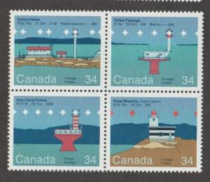 Canada Scott #1063-1064-1065-1066 Lighthouse Stamp - Mint NH Block of 4