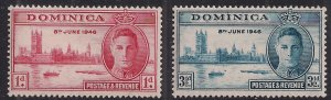 Dominica 1946 KGV1 Set of Victory Umm SG 110 - 111 ( 638 )