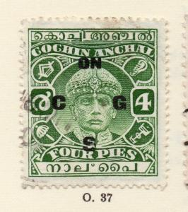 Cochin 1930s Early Issue Fine Used 4p. Optd 268181