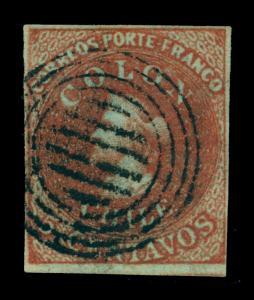 CHILE 1853 COLUMBUS - London print - 5c brown red Sc# 1 used VF - rare wmk FA5-2