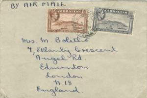 Gibraltar 1d and 1 1/2d KGVI Rock of Gibraltar 1948 Field Post Office, 475 Ai...